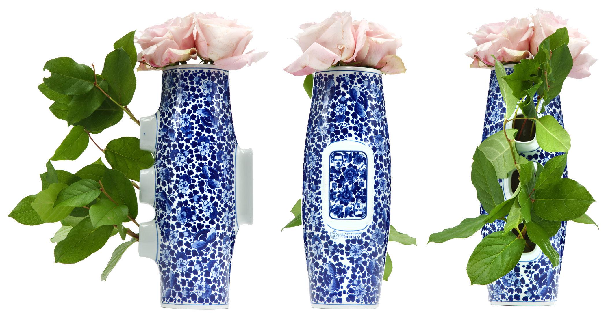 Dekoration - Vasen - Delft Blue 4 Vase - Moooi - Weiß & blau - Porzellan
