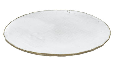 Arts de la table - Assiettes - Assiette FCK / Ø 28 cm - Béton émaillé - Serax - Blanc / Béton brut - Béton émaillé