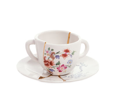 Tableware - Tea & Coffee Accessories - Kintsugi Coffee cup - / Coffee cup and saucer set by Seletti - White & gold / Multicoloured flowers - China, Gold