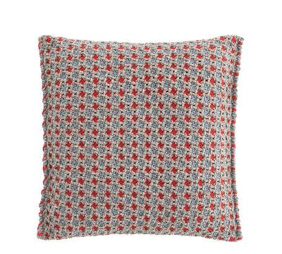 Interni - Cuscini  - Cuscino Garden Layers - / Small - Tessuto a mano di Gan - Goffrato / blu & rosso - Caoutchouc mousse, Polipropilene