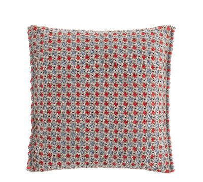 Decoration - Cushions & Poufs - Garden Layers Cushion - / Small - Handwoven by Gan - Embossed / Blue & red - Foam rubber, Polypropylene