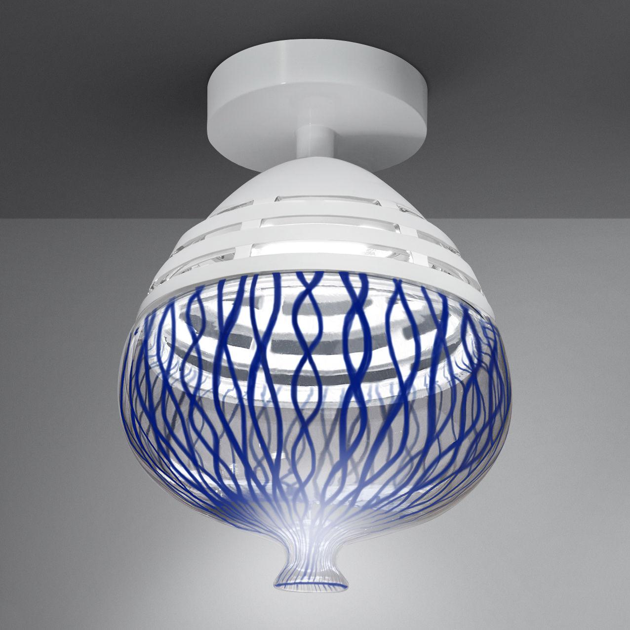 Leuchten - Deckenleuchten - Invero LED Deckenleuchte / Ø 23 cm x H 32 cm - mundgeblasenes Glas & Aluminium - Artemide - Blau & transparent / weiß - bemaltes Aluminium, geblasenes Glas