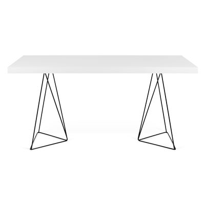 Furniture - Office Furniture - Trestle Desk - / W 160 x D 90 cm by POP UP HOME - White / Black base - chipboard panels, Lacquered metal, MDF