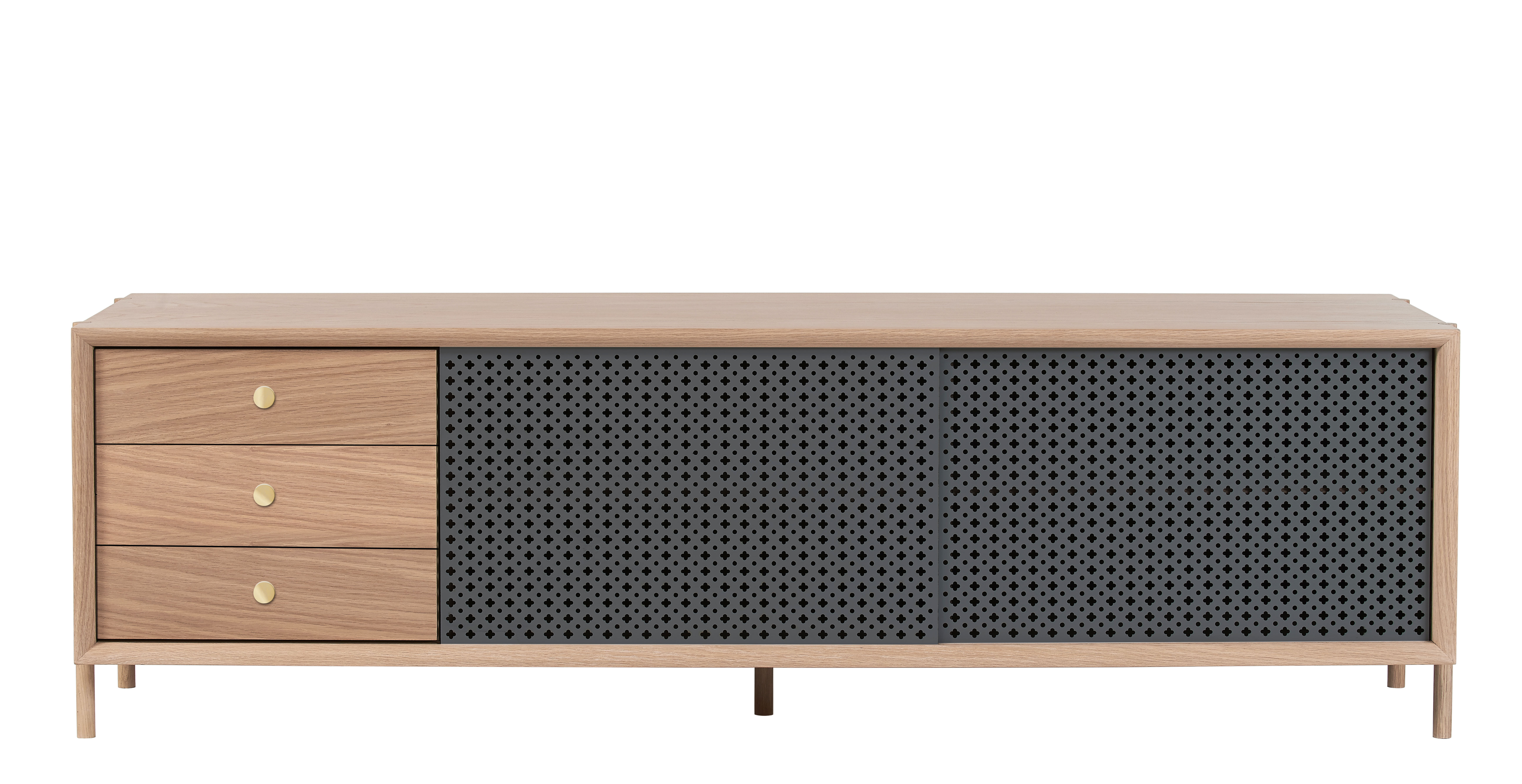 Furniture - Dressers & Storage Units - Gabin Dresser - 3 drawers / L 162 cm - Oak & metal by Hartô - Slate grey & oak - Brass, MDF veneer oak, Perforated metal, Solid oak