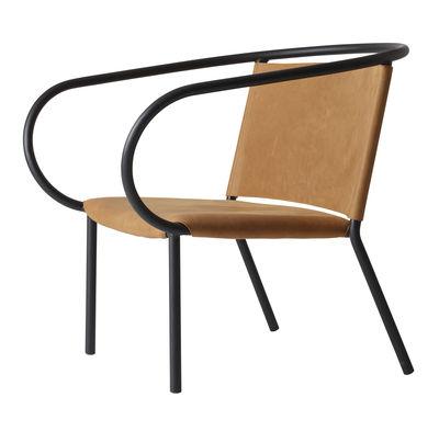 Mobilier - Fauteuils - Fauteuil bas Afteroom Lounge Chair / Cuir - Menu - Noir / Cuir Cognac - Acier, Cuir