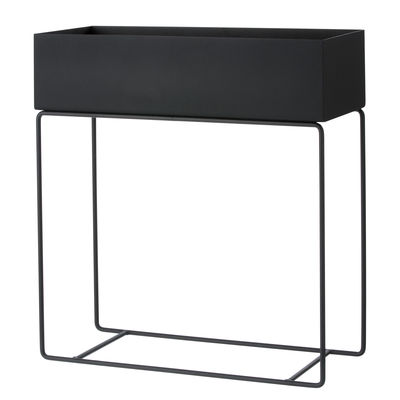 Interni - Vasi e Piante - Fioriera Plant Box / L 60 x H 65 cm - Ferm Living - Nero - Acciaio laccato epossidico