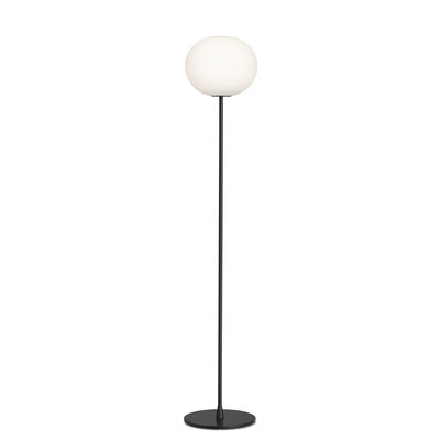Lighting - Floor lamps - Glo-Ball F2 Floor lamp - / H 175 cm -Mouth-blown glass by Flos - Black - Mouth blown glass, Varnished steel