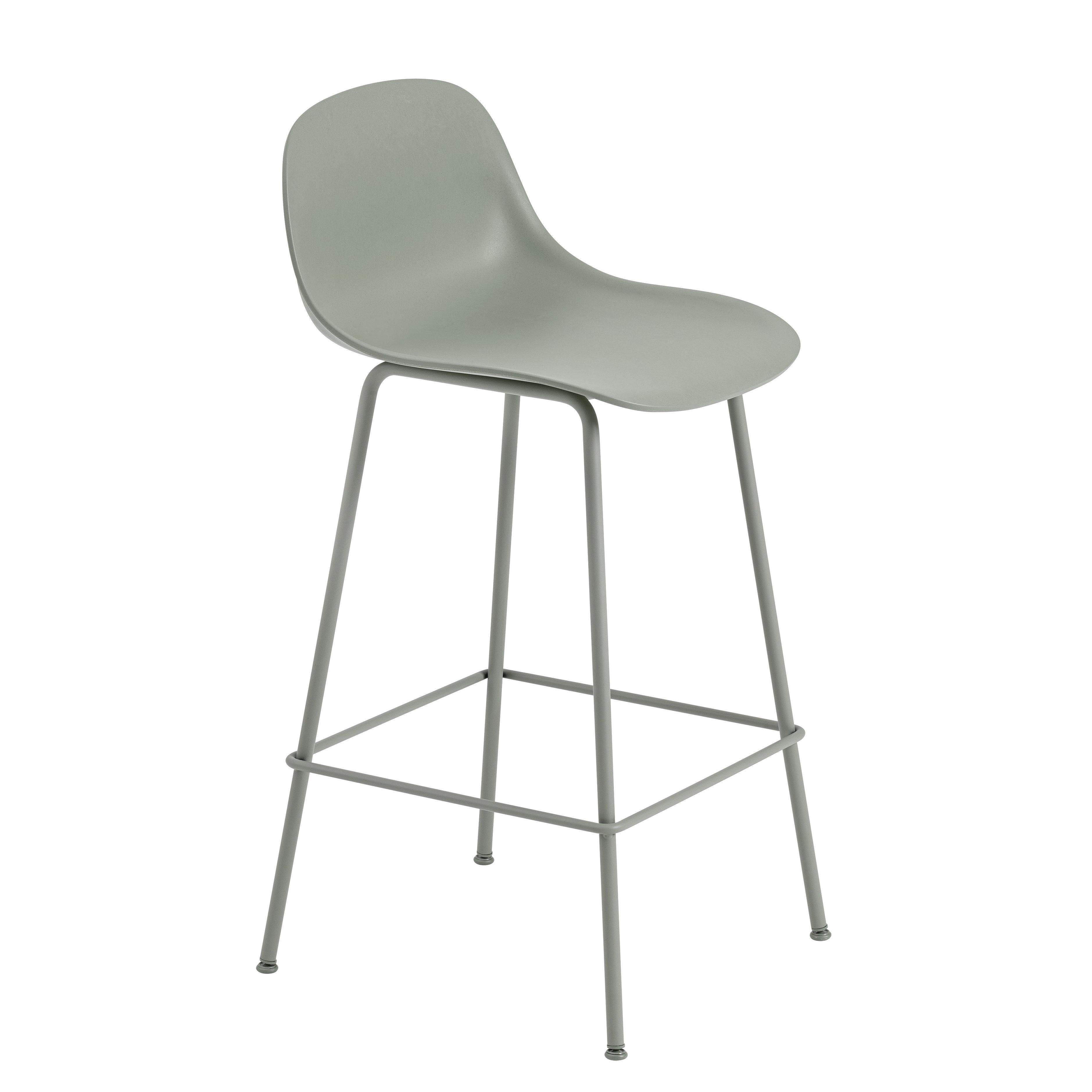 Möbel - Barhocker - Fiber Bar Hochstuhl / H 65 cm - Metallfüße - Muuto - Altgrün - bemalter Stahl, Recyceltes Verbundmaterial