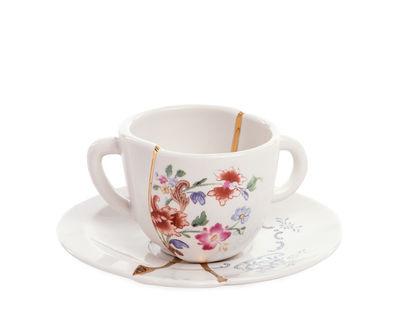 Tischkultur - Tee und Kaffee - Kintsugi Kaffeetasse / Set aus Kaffeetasse + Untertasse - Seletti - Weiß & Gold / Blumenmotiv mehrfarbig - Gold, Porzellan