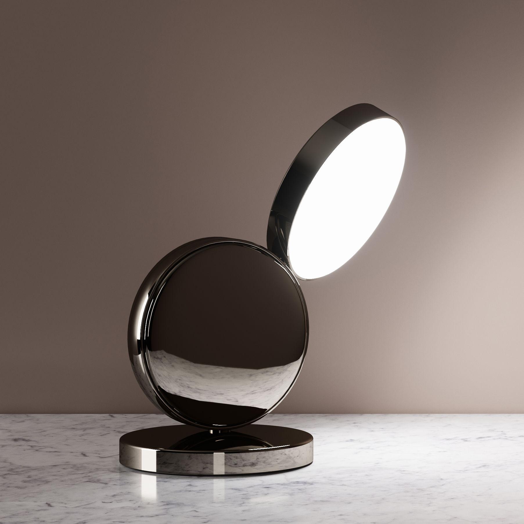 Illuminazione - Lampade da tavolo - Lampada da tavolo Optunia - / LED - Orientabile di Fontana Arte - Cromato - Alluminio, Vetro