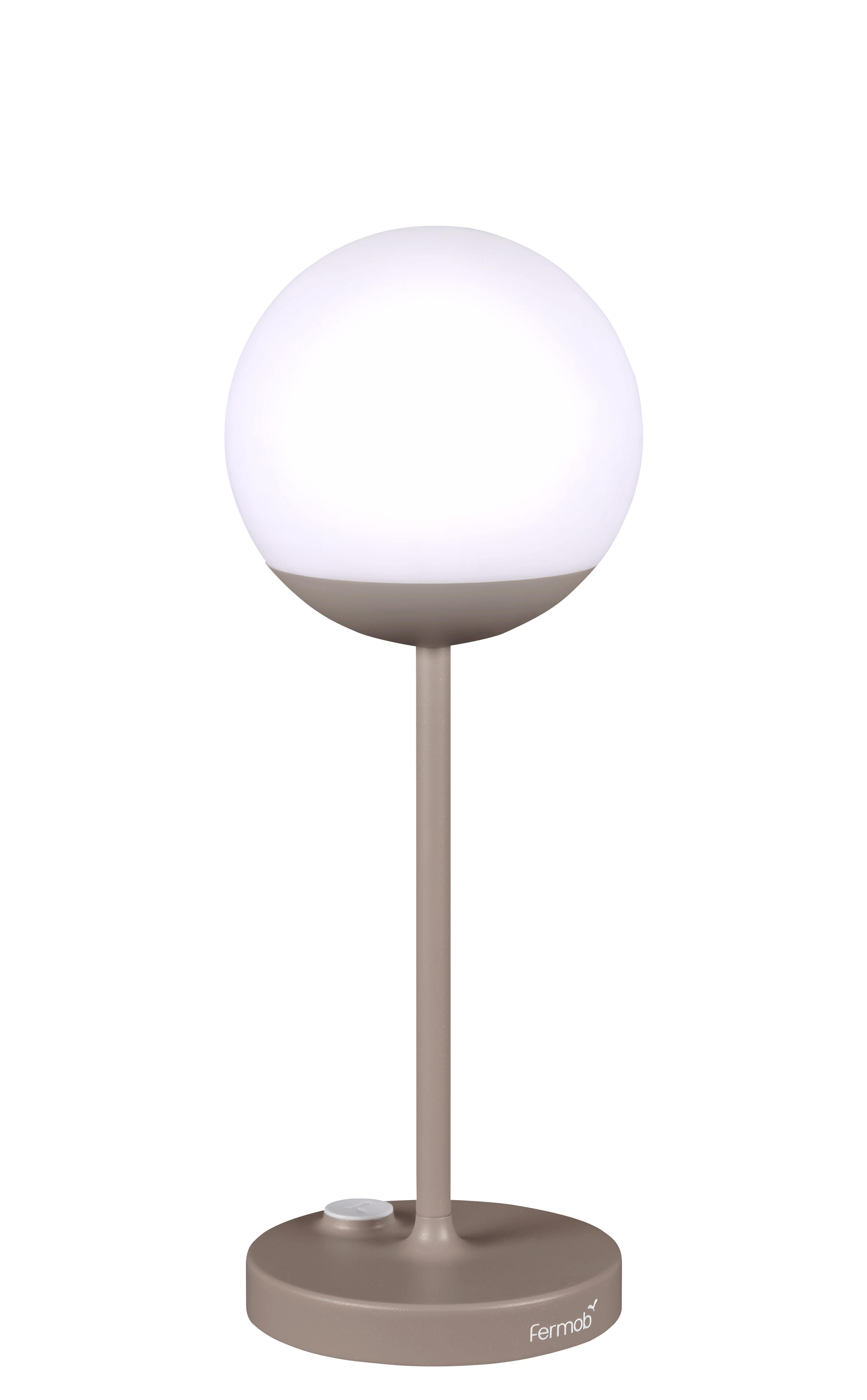 Illuminazione - Lampade da tavolo - Lampada senza fili Mooon! LED - / H 41 cm - Ricarica USB di Fermob - Noce moscata - Alluminio, Polietilene