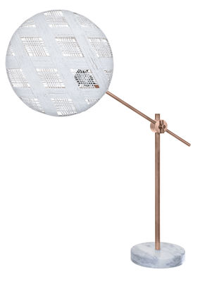 Lampe de table Chanpen Diamant Ø 36 cm / Articulée - Motifs losanges - Forestier blanc,cuivre en tissu