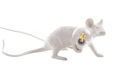 Lampe de table Mouse Lie Down #3 /  Souris allongée - Seletti blanc en matière plastique