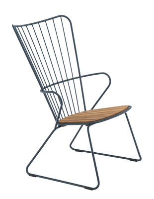 Decoration - Home Accessories - Paon Low armchair - / Metal & bamboo by Houe - Blue - Bamboo, Powder-coated steel