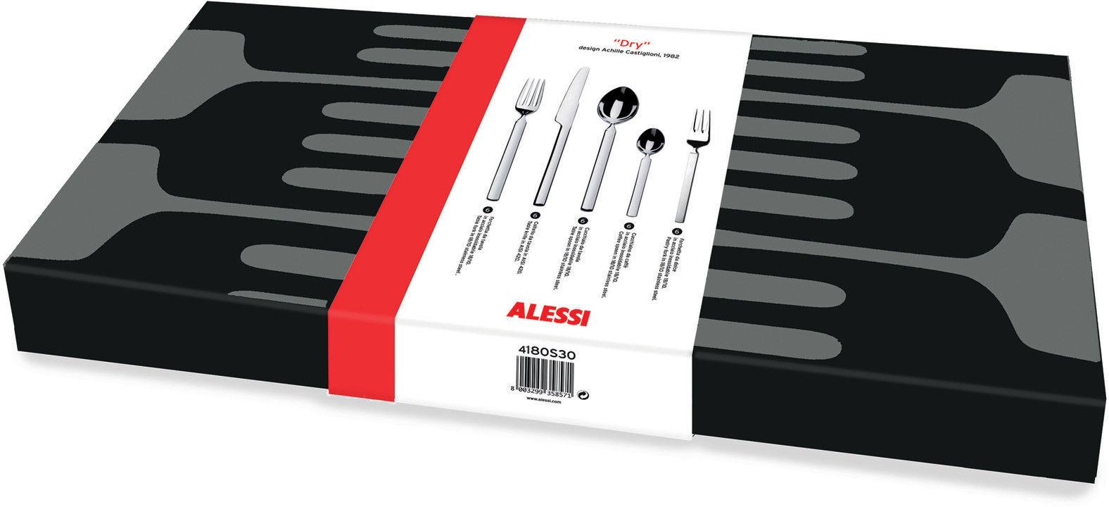 Arts de la table - Couverts de table - Ménagère Dry / 6 personnes - 30 pièces - Alessi - Acier poli - Acier inoxydable poli
