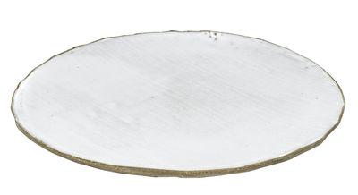 Tavola - Piatti  - Piatto FCK - / Ø 28 cm - Cemento smaltato di Serax - Bianco / Cemento grezzo - Calcestruzzo spatolato