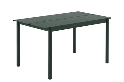 Outdoor - Garden Tables - Linear Rectangular table - / Steel - 140 x 75 cm by Muuto - Dark green - Acier revêtement poudre