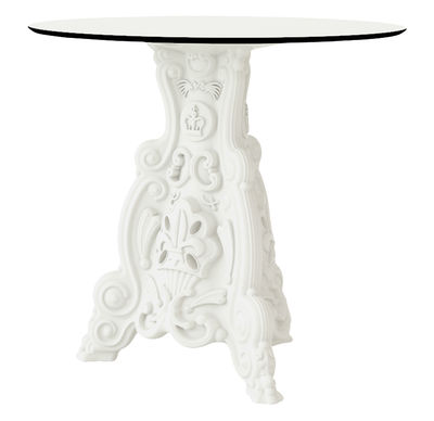 Outdoor - Garden Tables - Lord of Love Round table - Indoor / outdoor - Ø 79 cm by Design of Love by Slide - Milky White - High density laminate, Polythene
