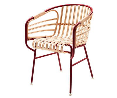 Möbel - Lounge Sessel - Raphia Sessel - Casamania - Bordeaux-rot - lackiertes Metall, Zuckerrohr