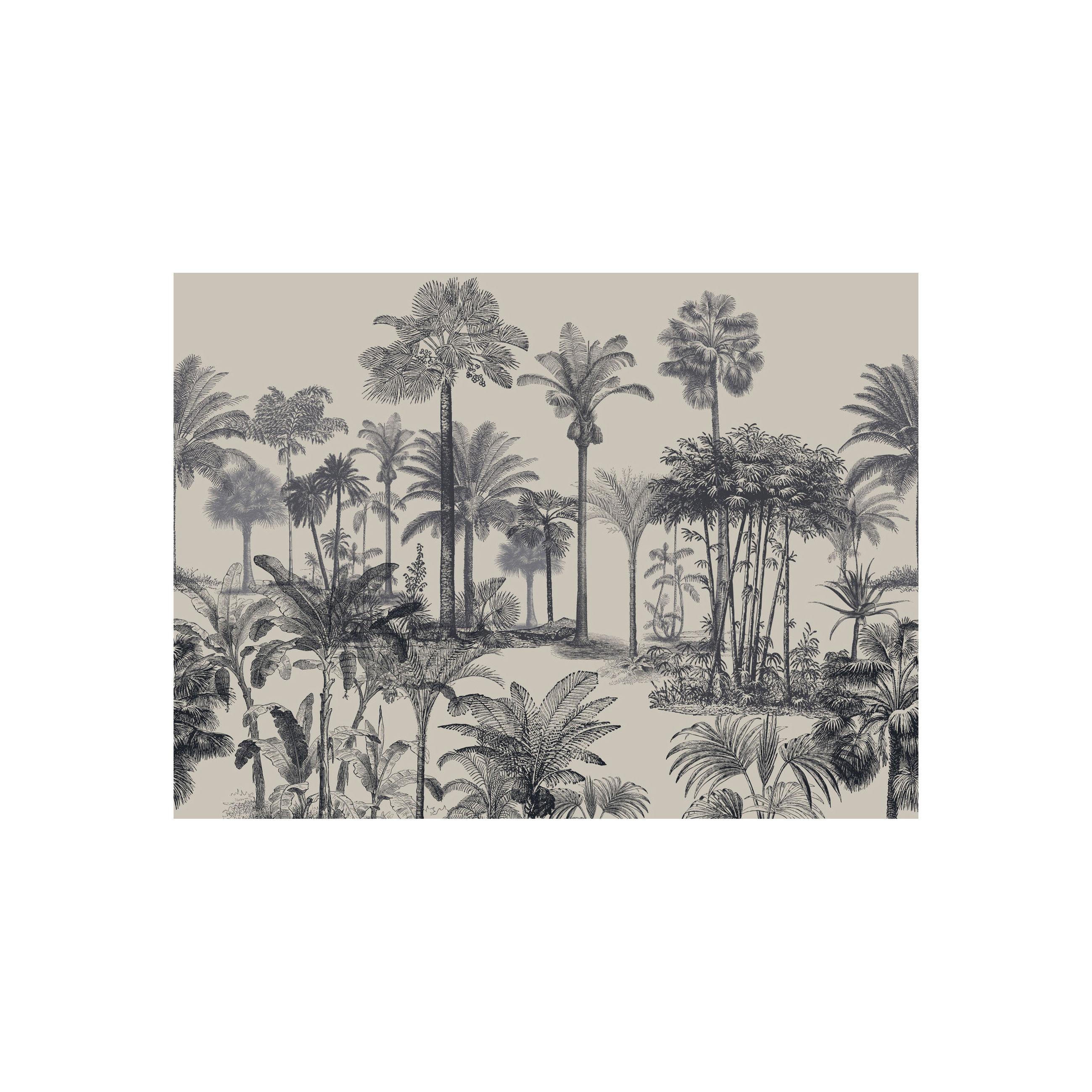 Arts de la table - Nappes, serviettes et sets - Set de table Tresors / Vinyle - Beaumont - Palmiers n° 2 / Noir & Blanc - Vinyle
