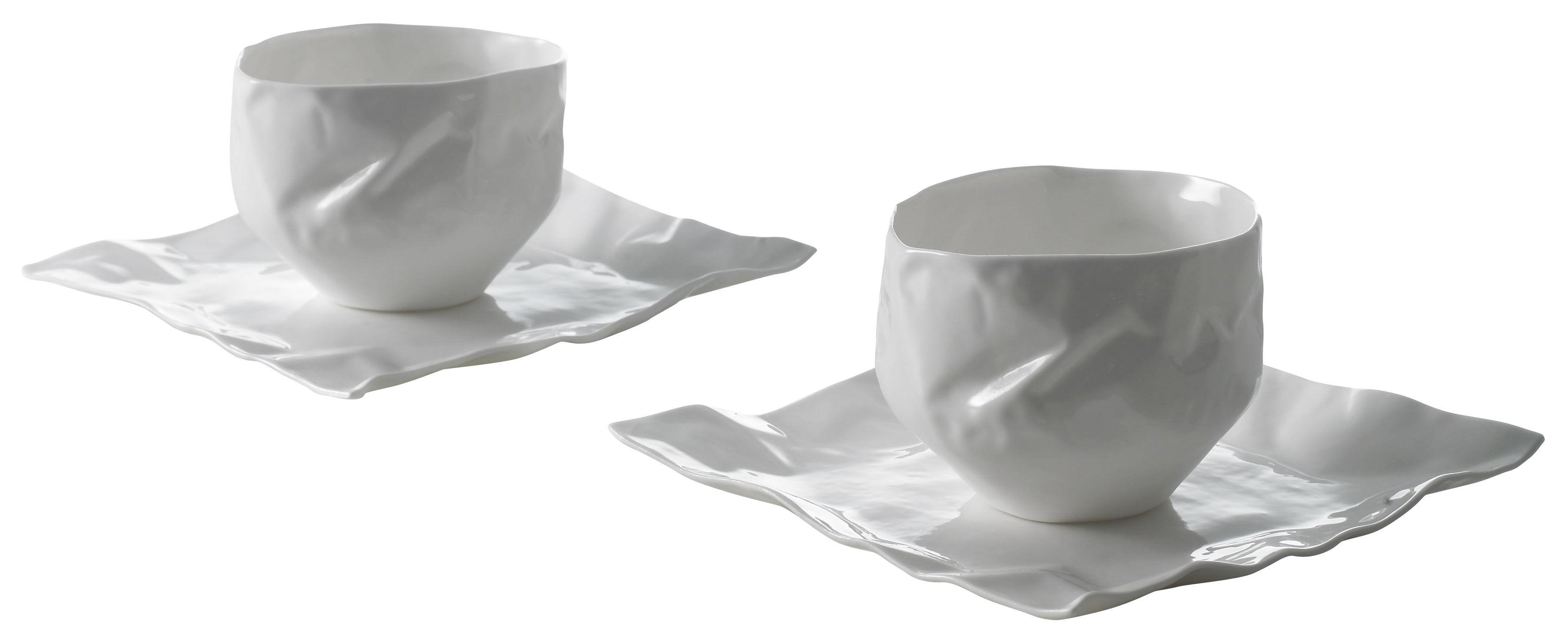 Arts de la table - Tasses et mugs - Set vaisselle Adelaïde XIV 2 tasses + 2 soucoupes - Driade Kosmo - Blanc - Porcelaine Bone China
