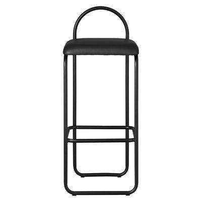 Arredamento - Sgabelli da bar  - Sgabello alto Angui Large - / H 75 cm - Pelle di AYTM - Pelle nera / Struttura nera - Espanso, Ferro laccato, Pelle