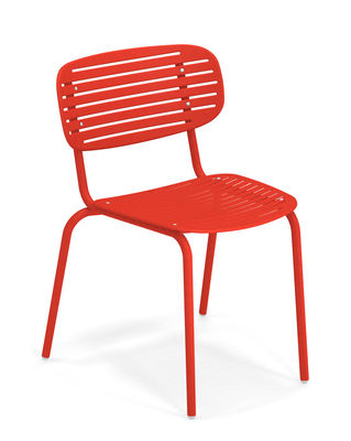 Furniture - Chairs - Mom Stacking chair - / Metal by Emu - Red - Varnished steel