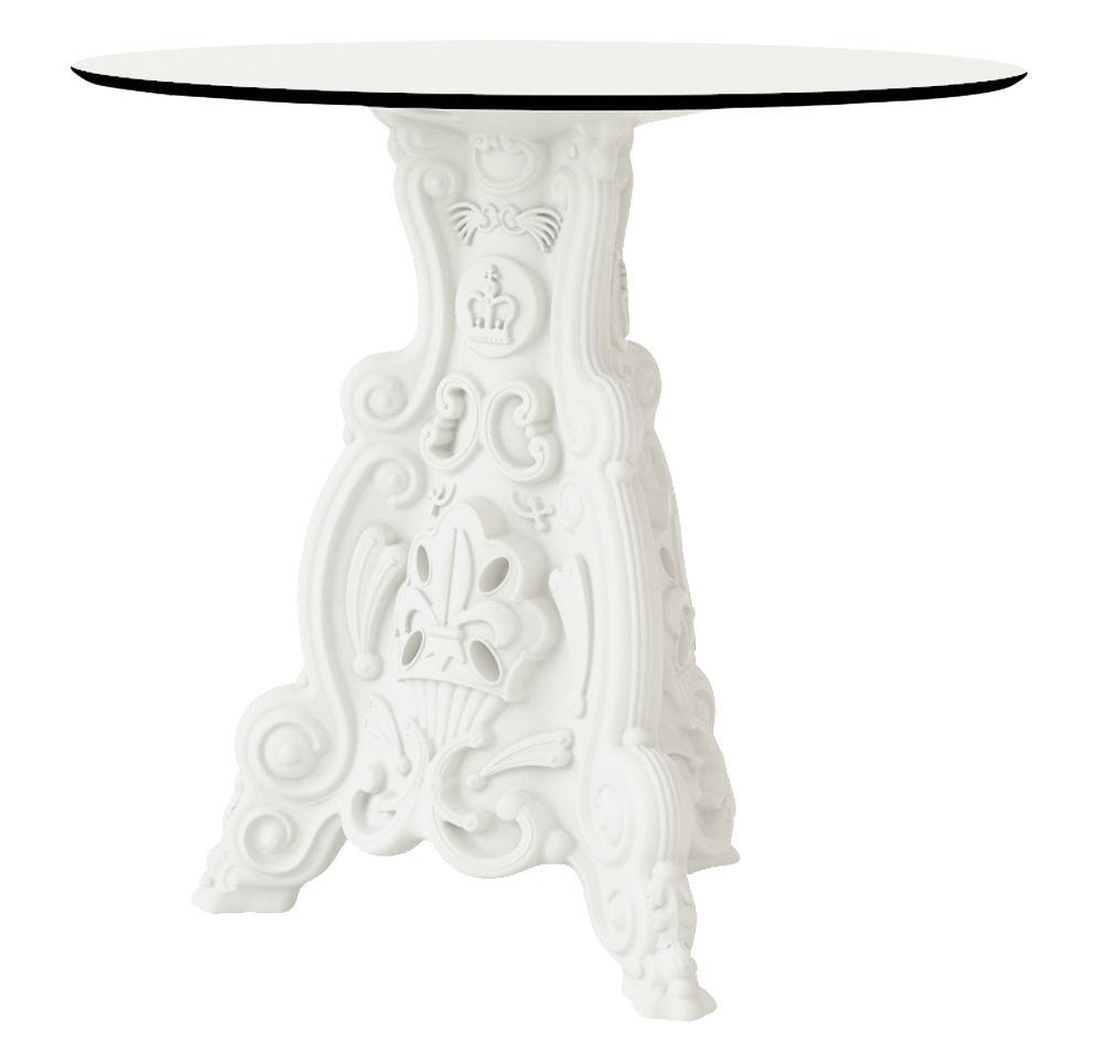 Outdoor - Tables de jardin - Table ronde Lord of Love / Ø 79 cm - Plateau stratifié - Design of Love by Slide - Blanc - Polyéthylène, Stratifié haute densité