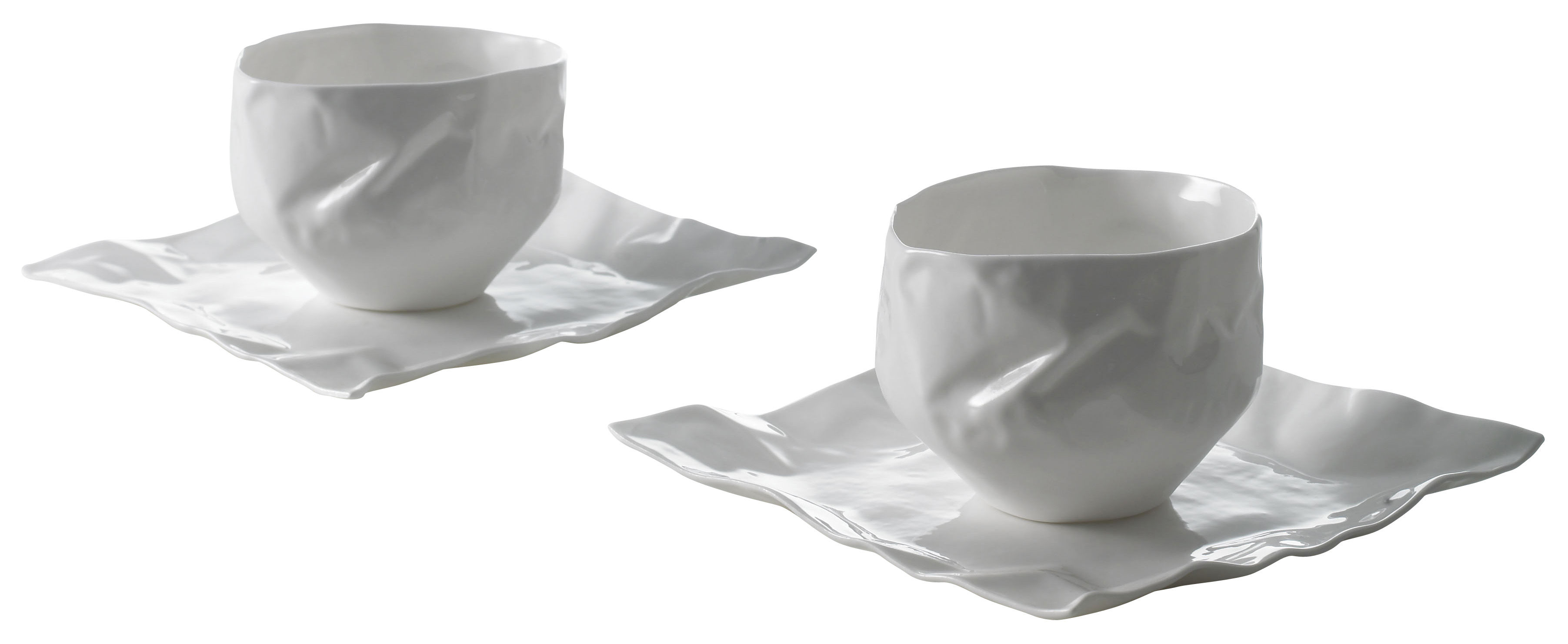 Tableware - Coffee Mugs & Tea Cups - Adelaïde XIV Tableware set - 2 cups + 2 saucers by Driade Kosmo - White - Bone china