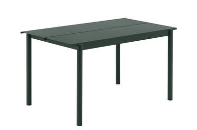 Outdoor - Tavoli  - Tavolo rettangolare Linear - / Acciaio - 140 x 75 cm di Muuto - Verde scuro - Acier revêtement poudre
