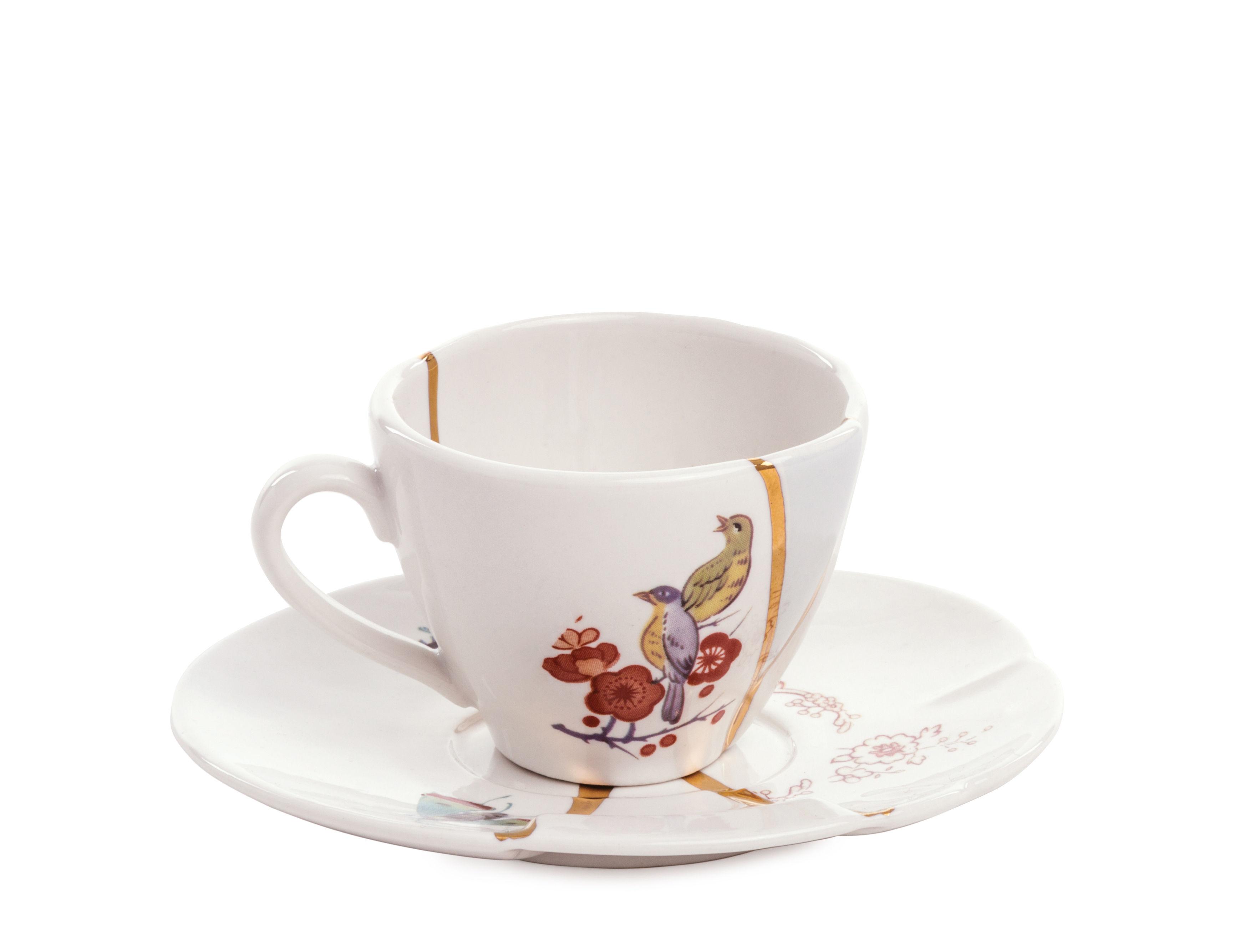 Tavola - Caffè - Tazzina da caffè Kintsugi - / Set Tazza da caffè con sottopiattino di Seletti - bianco & oro / Uccelli & fiori - Oro, Porcellana