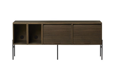 Furniture - Dressers & Storage Units - Hifive Television table - / TV table - L 150 x H 65 cm by Northern  - Smoked oak - Lacquered steel, Smoked oak plywood