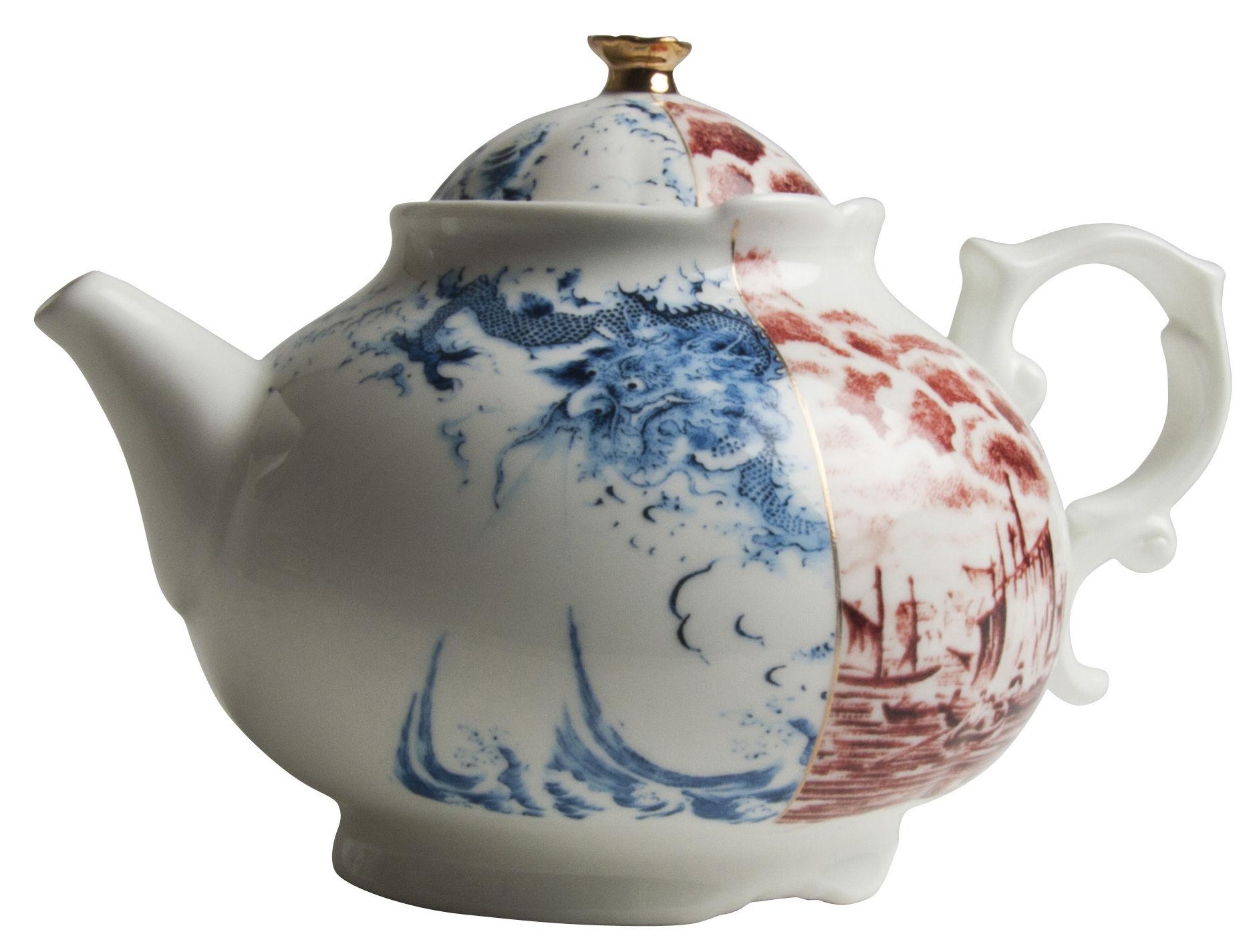 Arts de la table - Thé et café - Théière Hybrid Smeraldina - Seletti - Bleu et rouge - Porcelaine Bone China