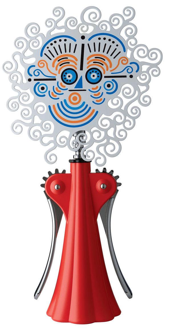 Arts de la table - Bar, vin, apéritif - Tire-bouchon Anna G. 20th Anniversary / Edition limitée - Alessi - Rouge - Laiton sérigraphié, Résine thermoplastique, Zamac chromé