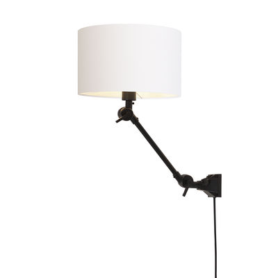 Lighting - Wall Lights - Amsterdam Small Wall light with plug - / Fabric lampshade - L 60 cm by It's about Romi - Black / White lampshade - Fabric, Iron