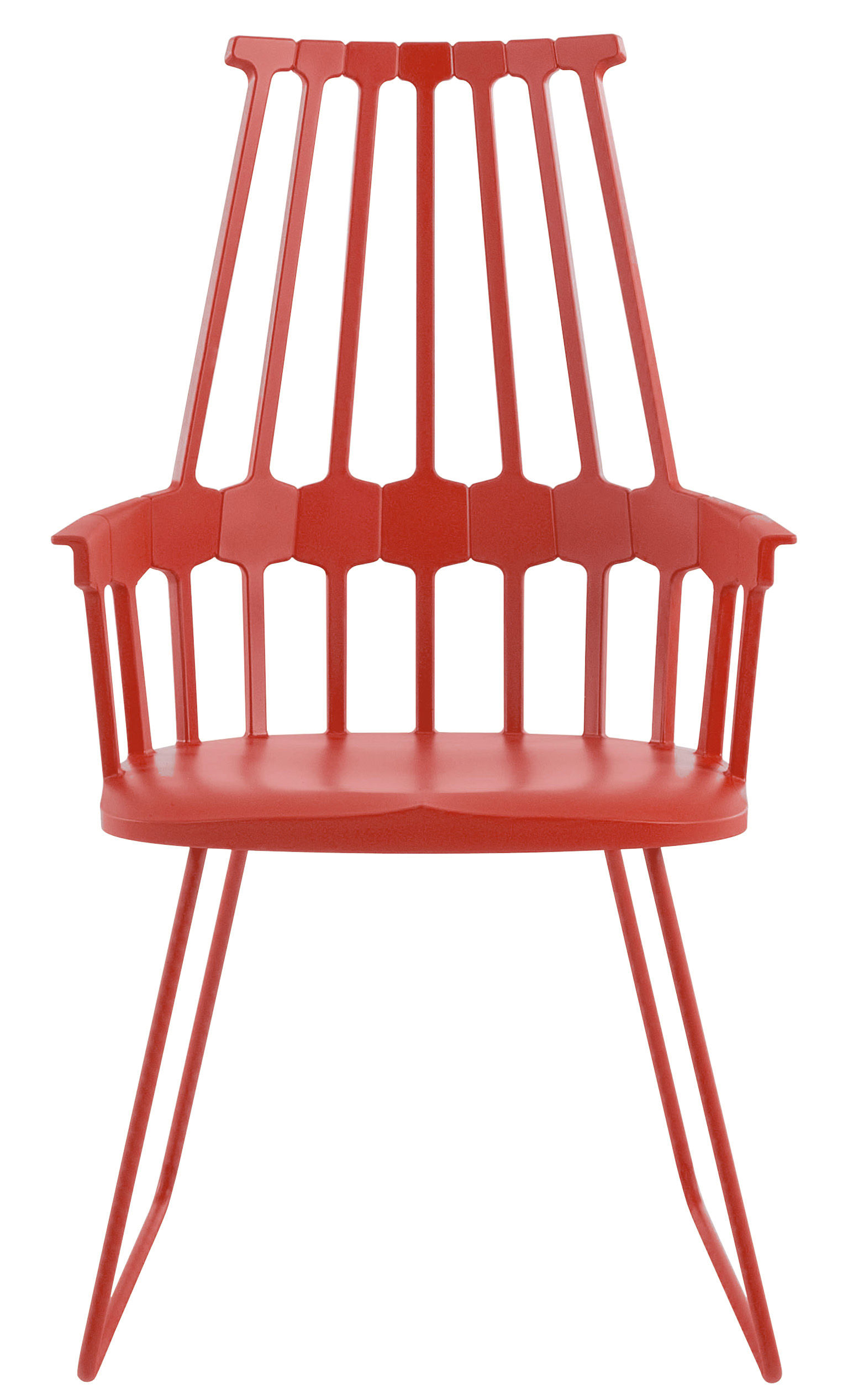 Furniture - Comback Armchair - Polycarbonate & metal sledge leg by Kartell - Red - Polycarbonate, Steel