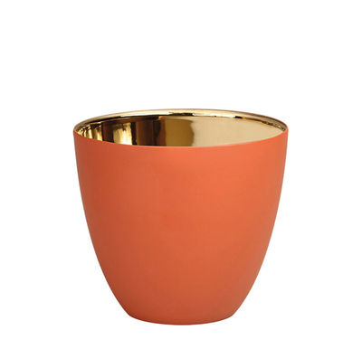 Decoration - Candles & Candle Holders - Summer Small Candle holder - / H 6.5 cm - Porcelain by & klevering - Terracotta / Gold - China