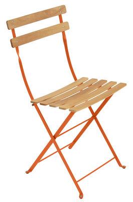Chaise pliante Bistro / Métal & bois - Fermob bois,carotte en bois