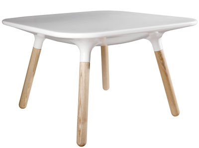 Furniture - Coffee Tables - Marguerite Coffee table - H 45 cm by Stamp Edition - Winter white / Ash tree - Ashwood, Composite material