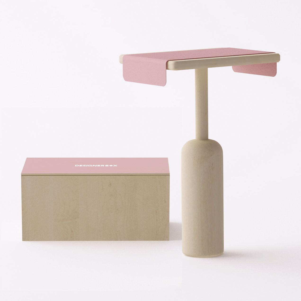 Mobilier - Tables basses - Coffret Made In Design / Table d'appoint Napa - Bina Baitel - Exclu - Designerbox - Bois et rose / Coffret bois - Bois, Métal laqué