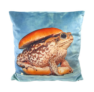 Decoration - Cushions & Poufs - Toiletpaper Cushion - / Toad - 50 x 50 cm by Seletti - Toad / Blue - Feathers, Polyester fabric