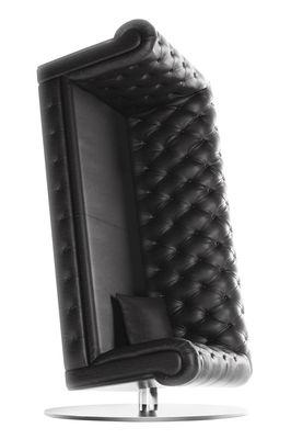 Mobilier - Fauteuils - Fauteuil pivotant Charleston / Cuir capitonné - H 222 cm - Moooi - Noir - Acier inoxydable, Bois, Cuir, Mousse