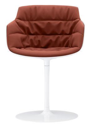 Mobilier - Chaises, fauteuils de salle à manger - Fauteuil pivotant Flow Slim / Rembourré - Pied central - MDF Italia - Tissu orange / Pied blanc - Aluminium laqué, Polycarbonate, Tissu