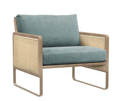 Fauteuil rembourré Cannage / Tissu - Structure chêne - RED Edition bleu/bois naturel en tissu/fibre végétale/bois