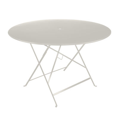Outdoor - Garden Tables - Bistro Foldable table - / Ø 117 cm - Parasol hole by Fermob - Clay grey - Lacquered steel
