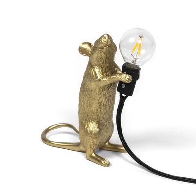 Lampe de table Mouse Standing #1 / Souris debout - Seletti doré en matière plastique