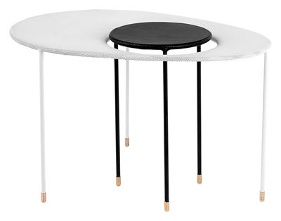 Furniture - Coffee Tables - Kangourou Nested tables - Set of 2 modular tables - Reissue 50' by Gubi - White / Black - Stainless steel