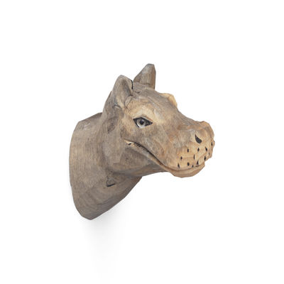 Mobilier - Portemanteaux, patères & portants - Patère Animal / Hippo - Bois sculpté main - Ferm Living - Hippopotame - Bois de peuplier, Verre