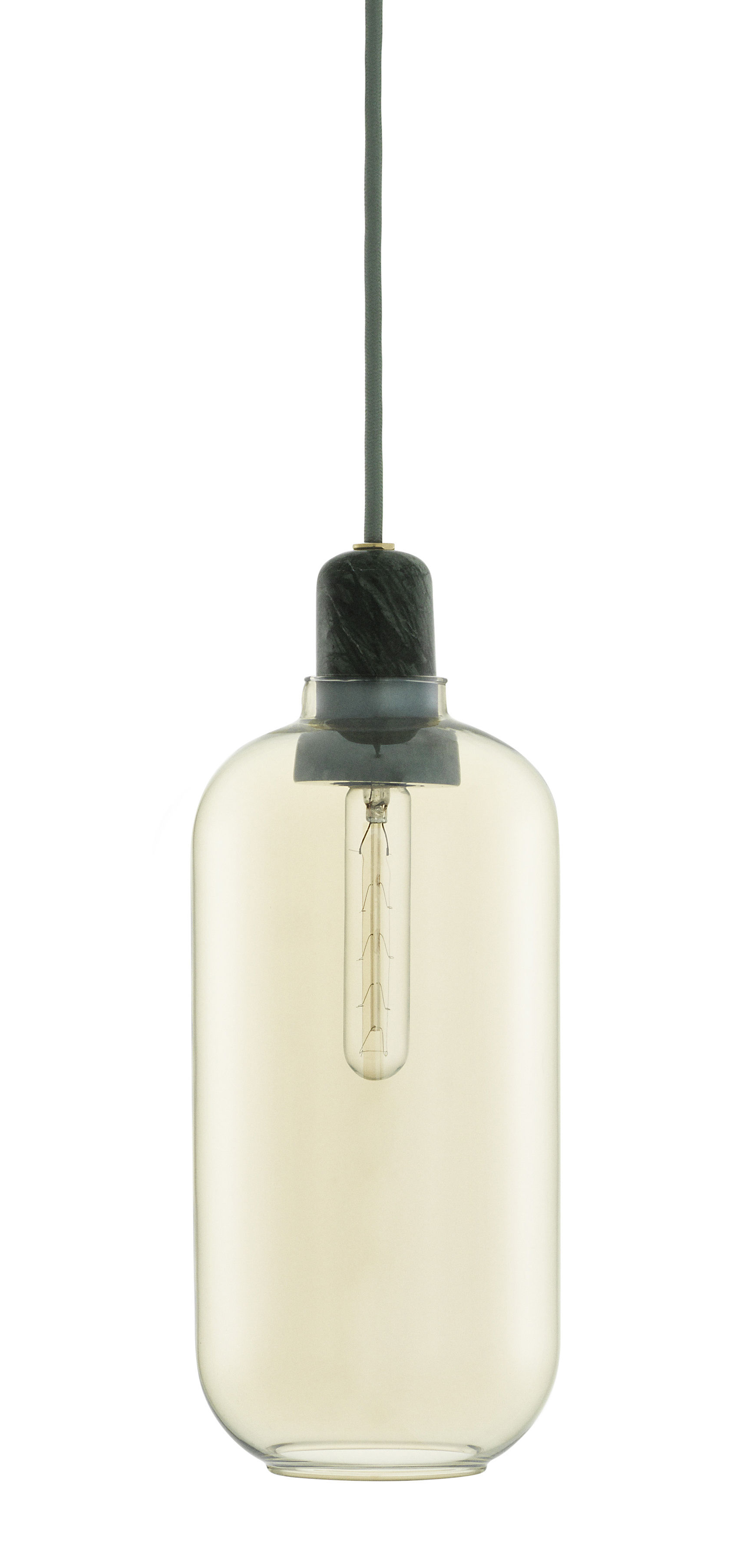 Lighting - Pendant Lighting - Amp Large Pendant - Ø 11 x H 26 cm by Normann Copenhagen - Gold / Dark green marble - Glass, Marble