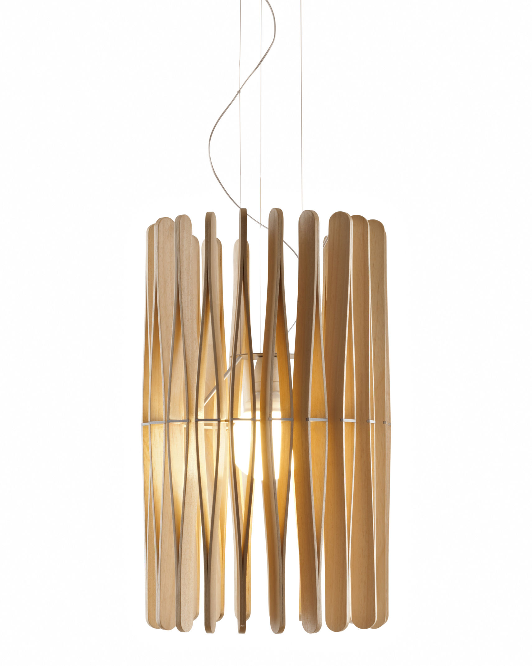 Lighting - Pendant Lighting - Stick 02 Pendant by Fabbian - Natural wood - Ayous wood, Varnished metal
